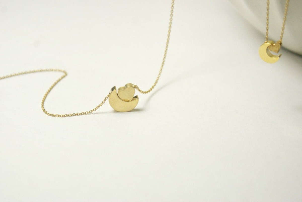 gold moon and heart on gold chain, Etsy jewelry