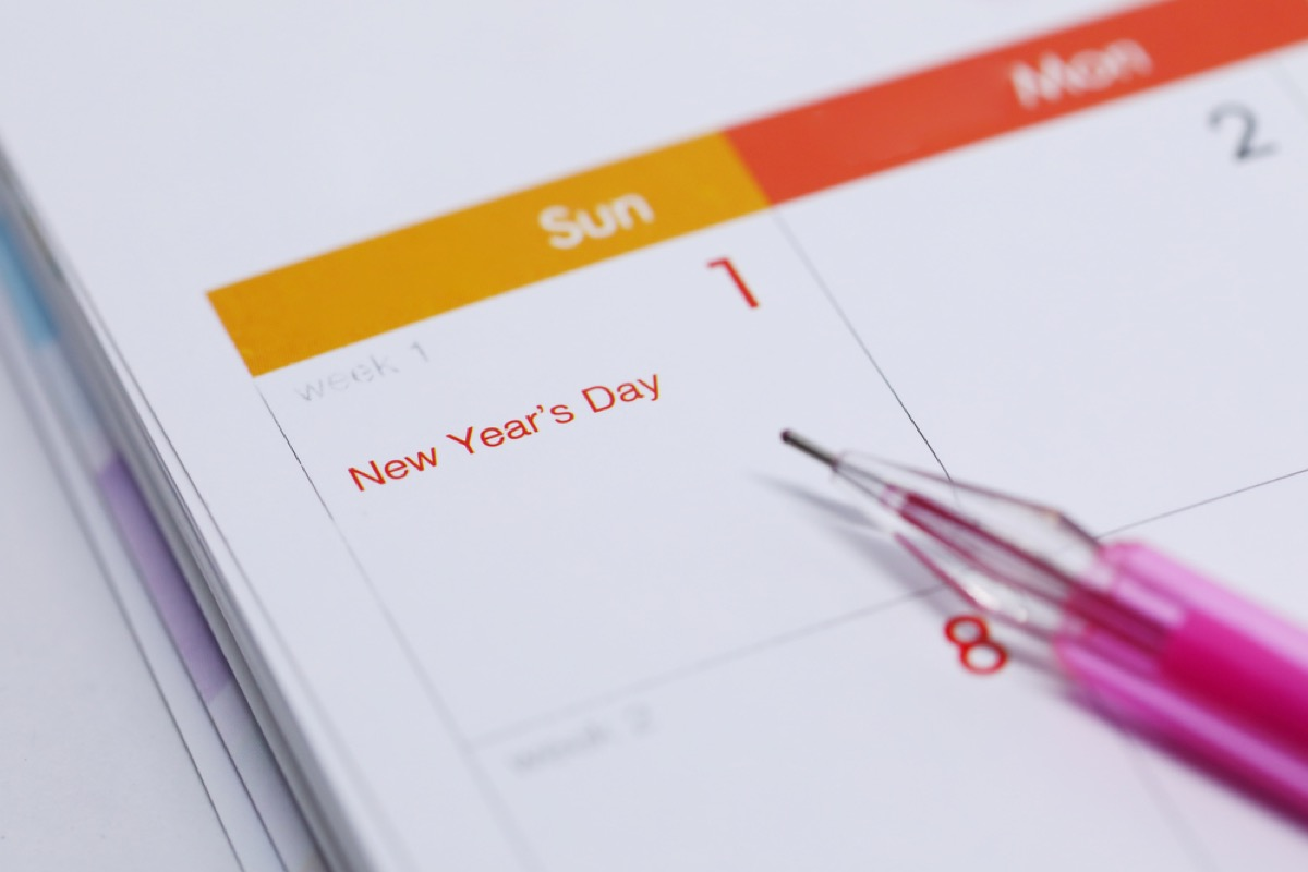 calendar with New Year's day marked on it, rosh hashanah facts