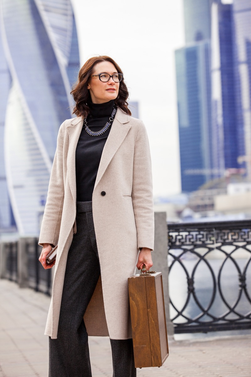 Fashionable Older Woman Outside in a Coat Style Tips Over 40
