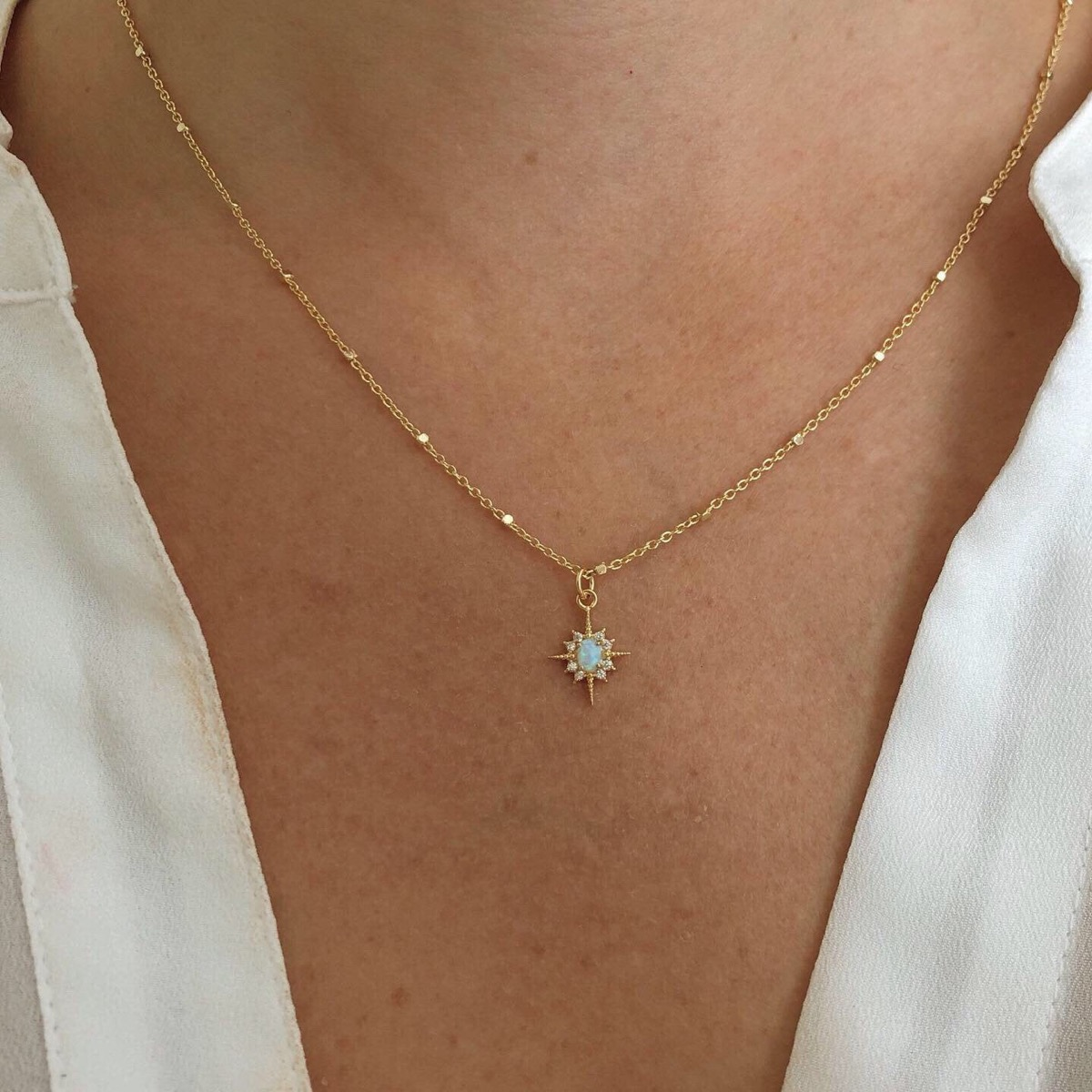 gold and opal star on chain, Etsy jewelry