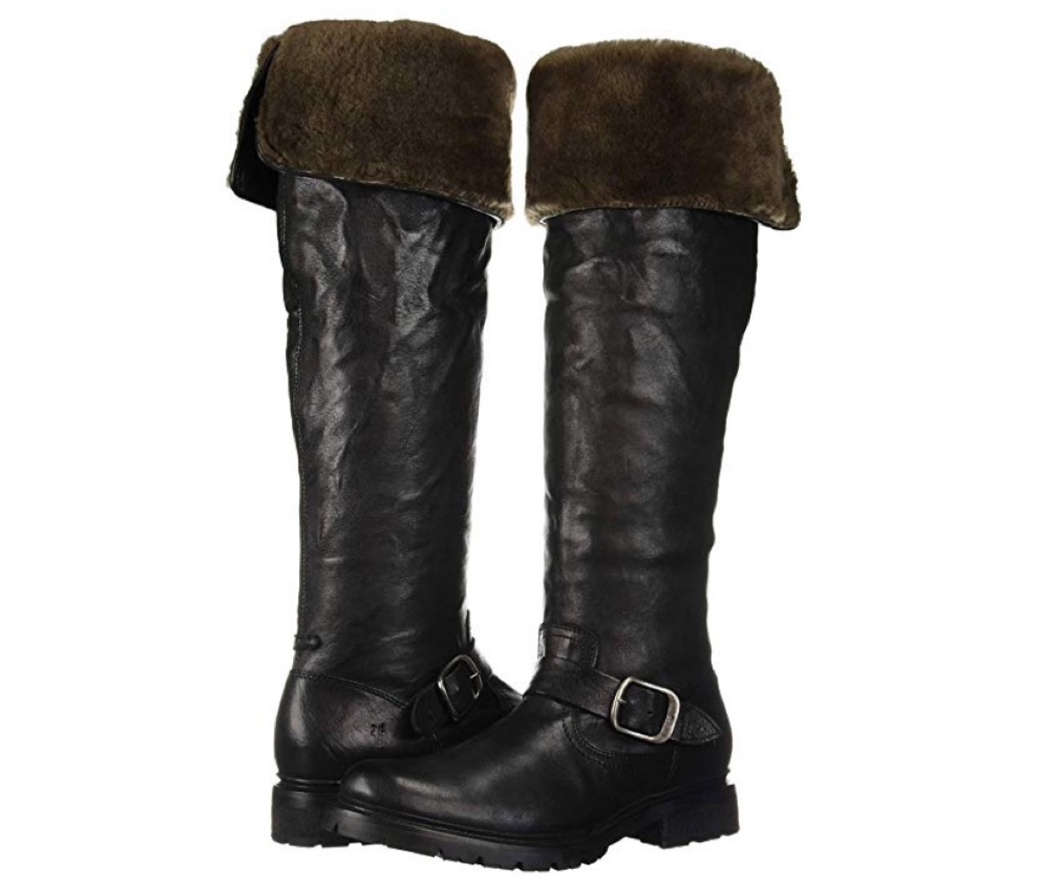 black over the knee boots with brown suede cuffs