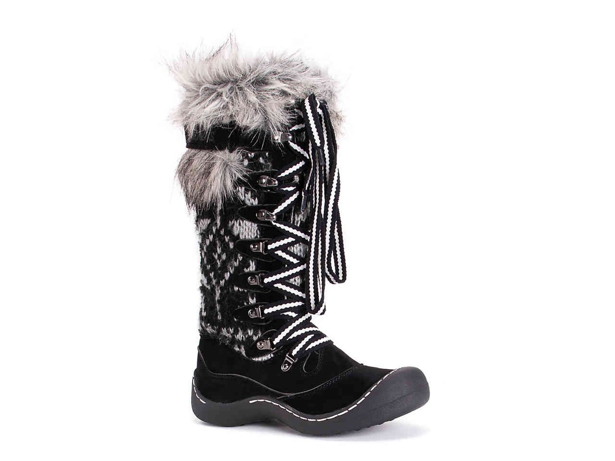 black and white lace up boots with faux fur trim