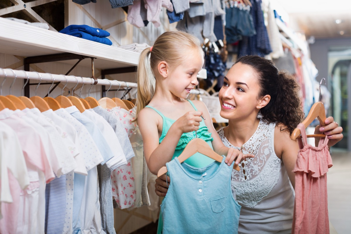 picking out kids clothes