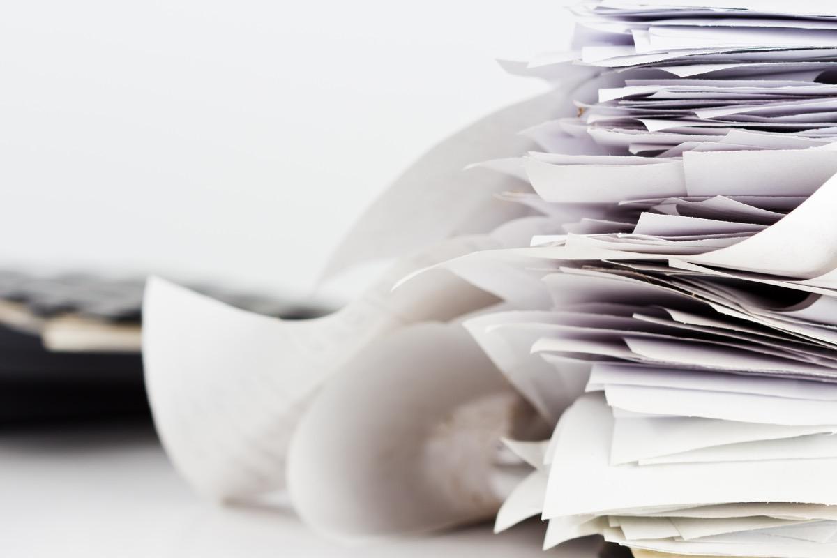 piles of paperwork, getting rid of junk