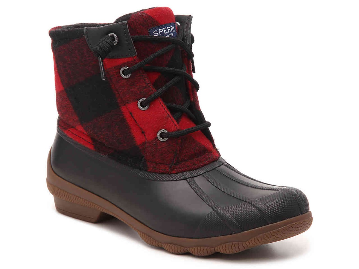 red plaid duck boots