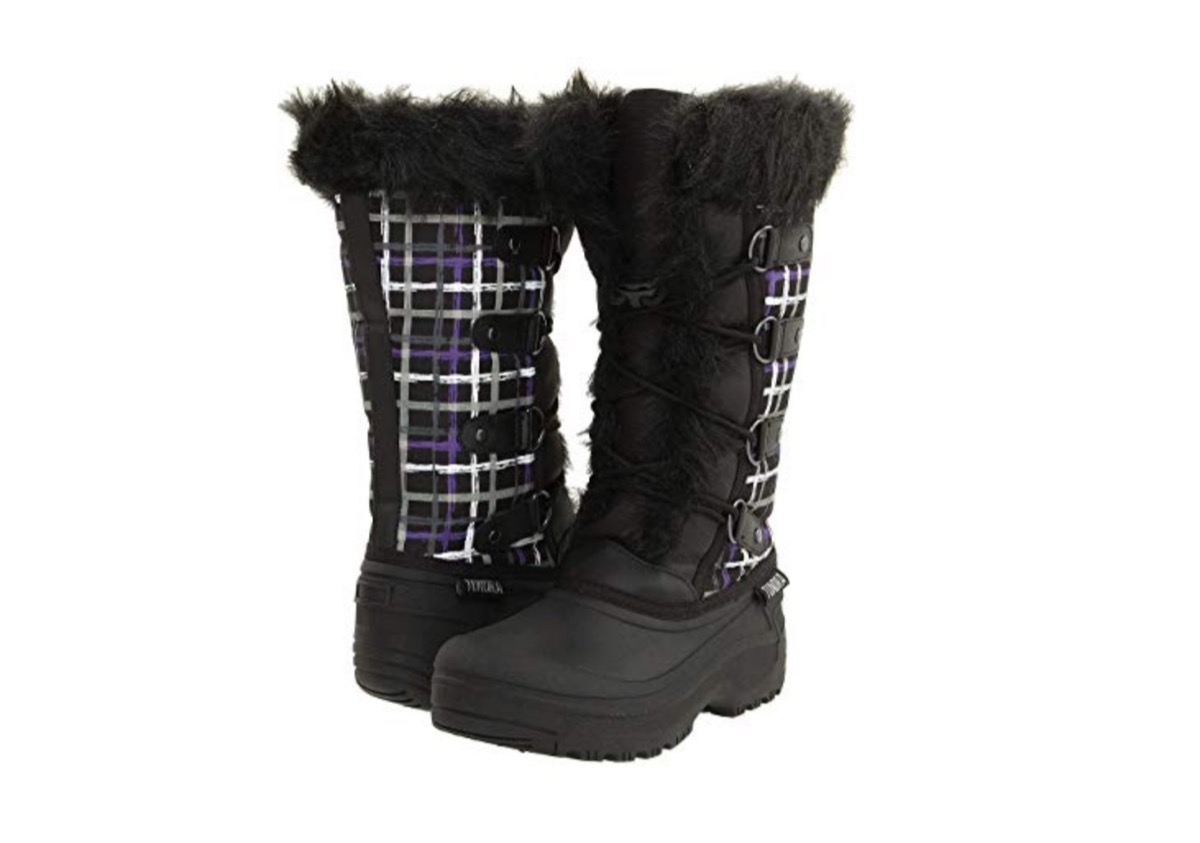 black snow boots with purple and white plaid and faux fur trim
