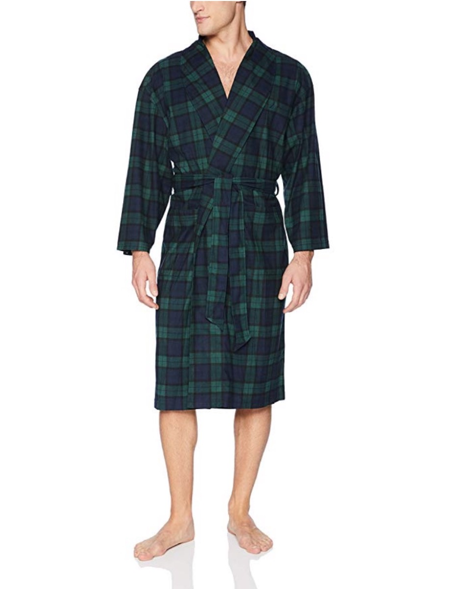 man in green plaid robe