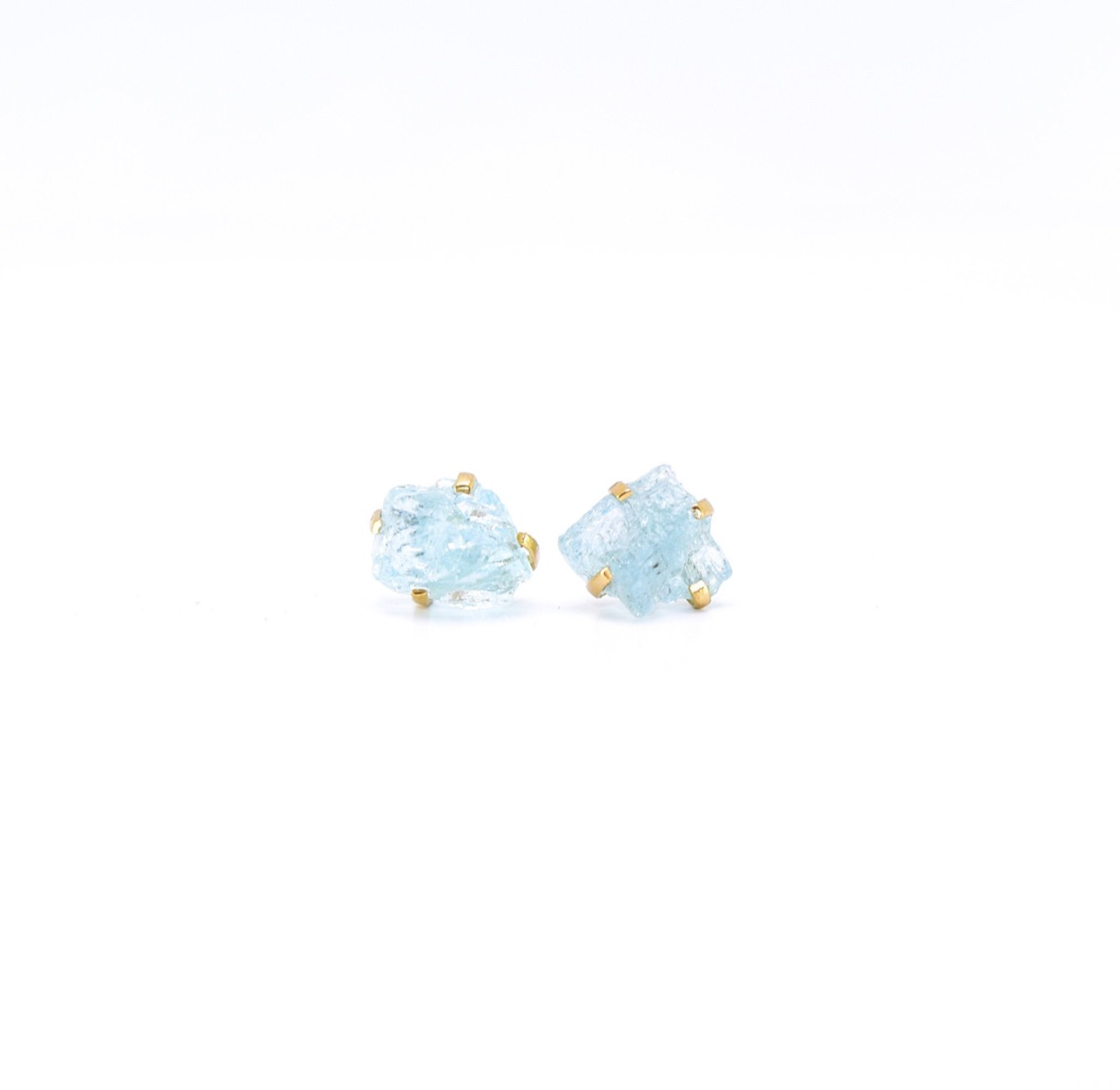 raw aquamarine earrings in gold prong settings, Etsy jewelry