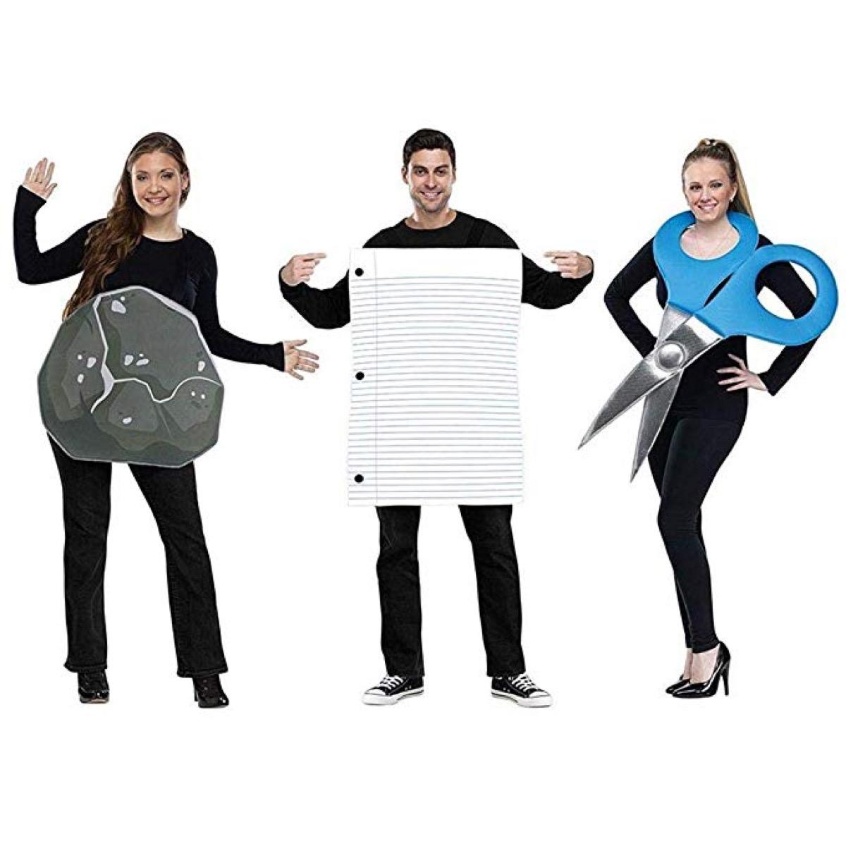 rock paper scissors costumes, family halloween costumes