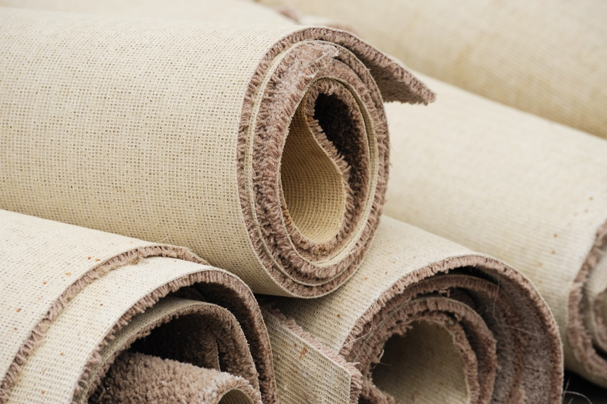 Some rolled-up carpets