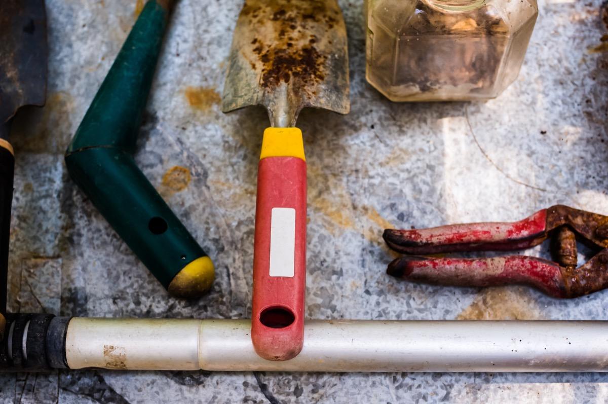 Rusty gardening tools