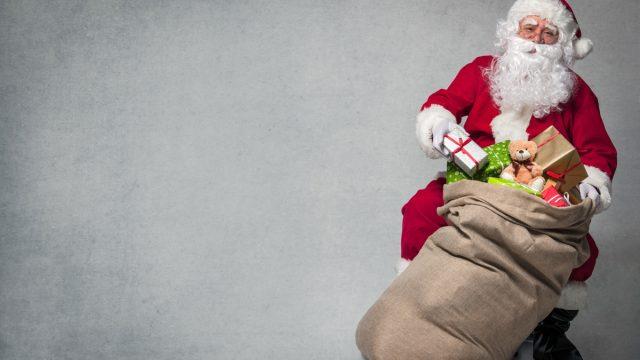 santa with bag full of presents