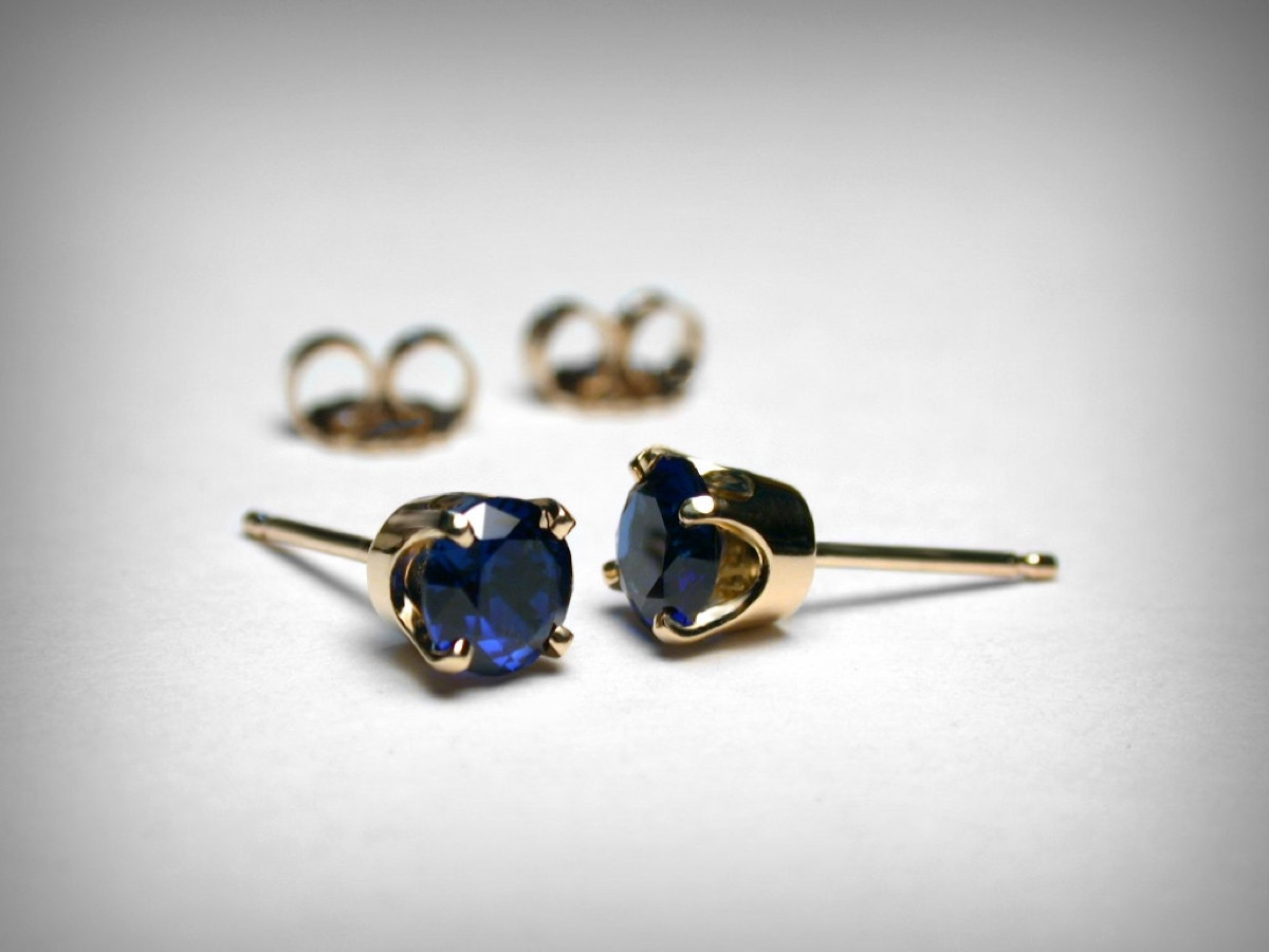 two pairs of blue sapphire stud earrings, Etsy jewelry