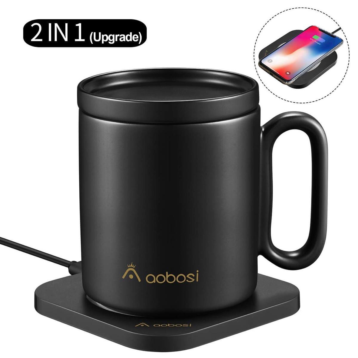 black mug on coaster