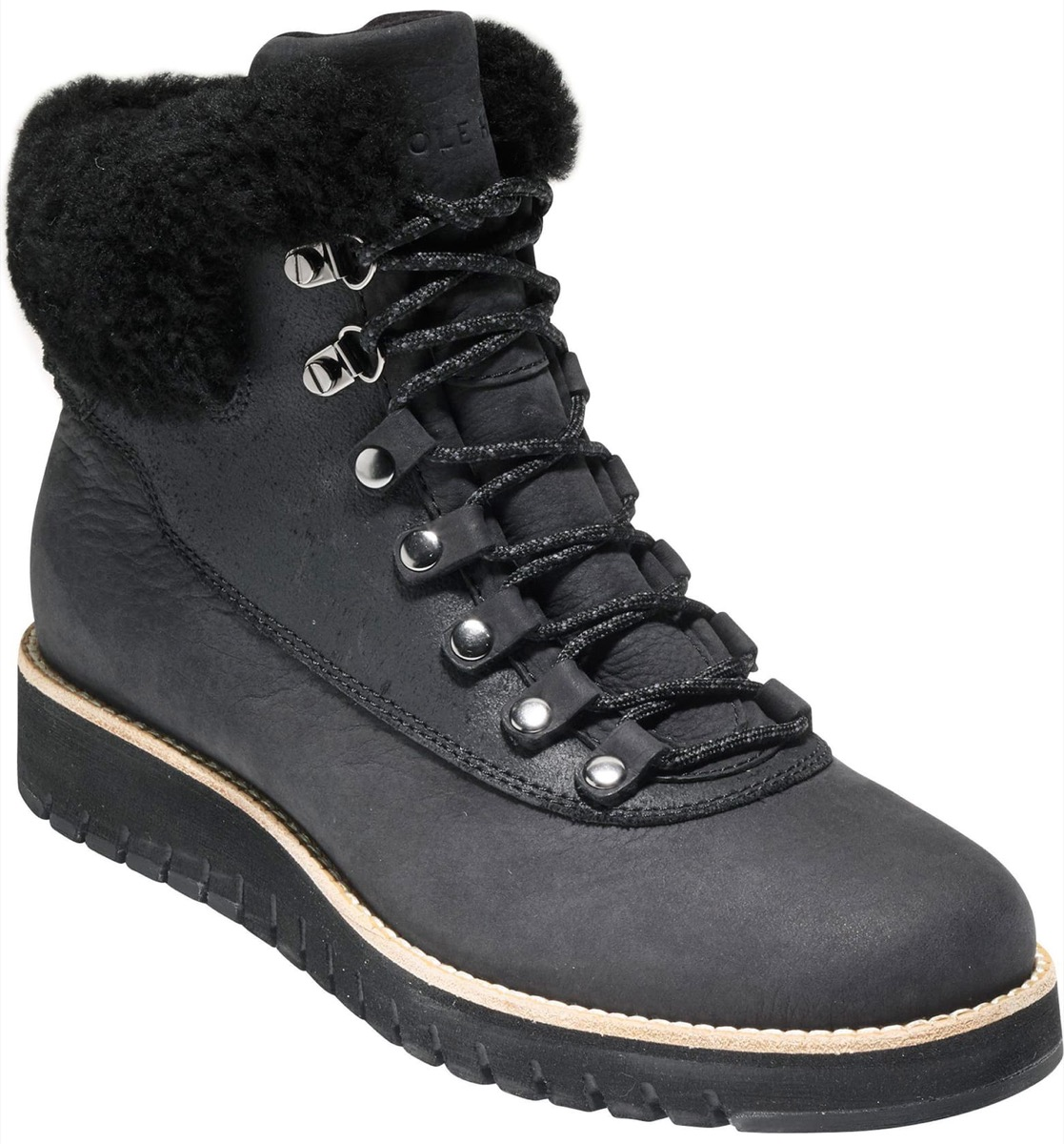 black hiking boots with shearling lining