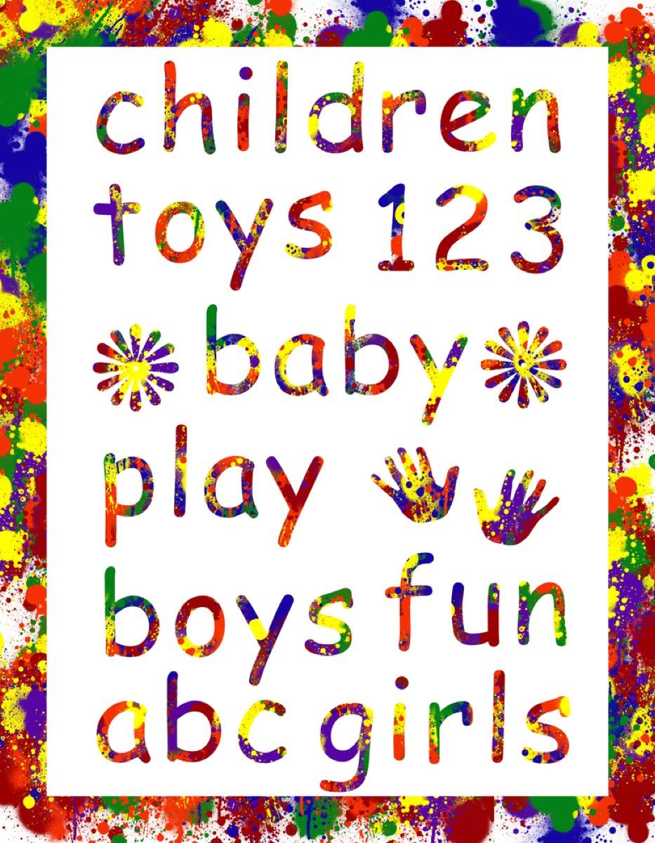 """Children toys 123 baby play boys fun abc girls"" written in Comic Sans"