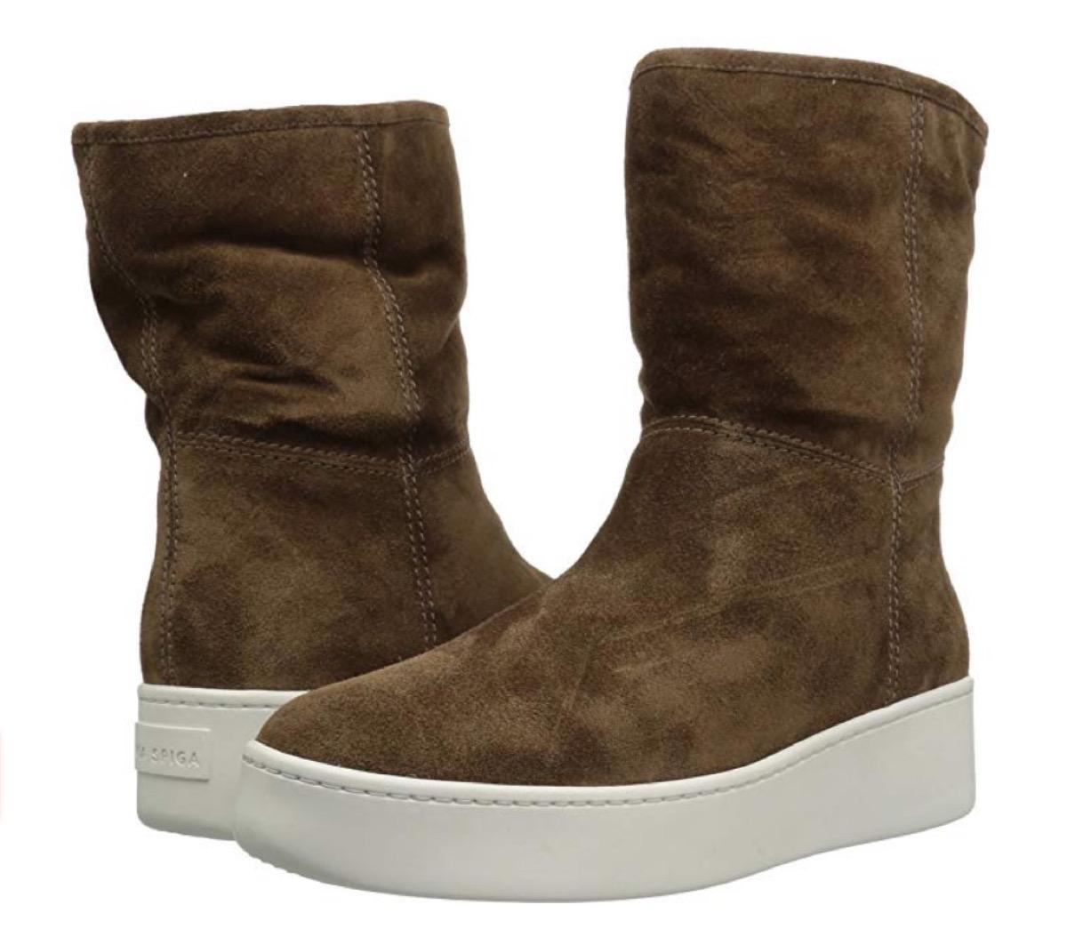 brown suede sneaker boots