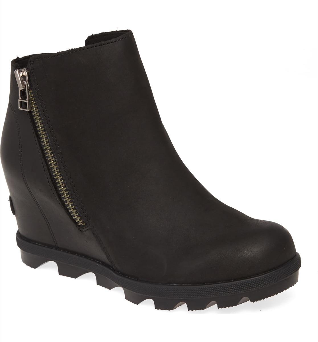 black zip up booties