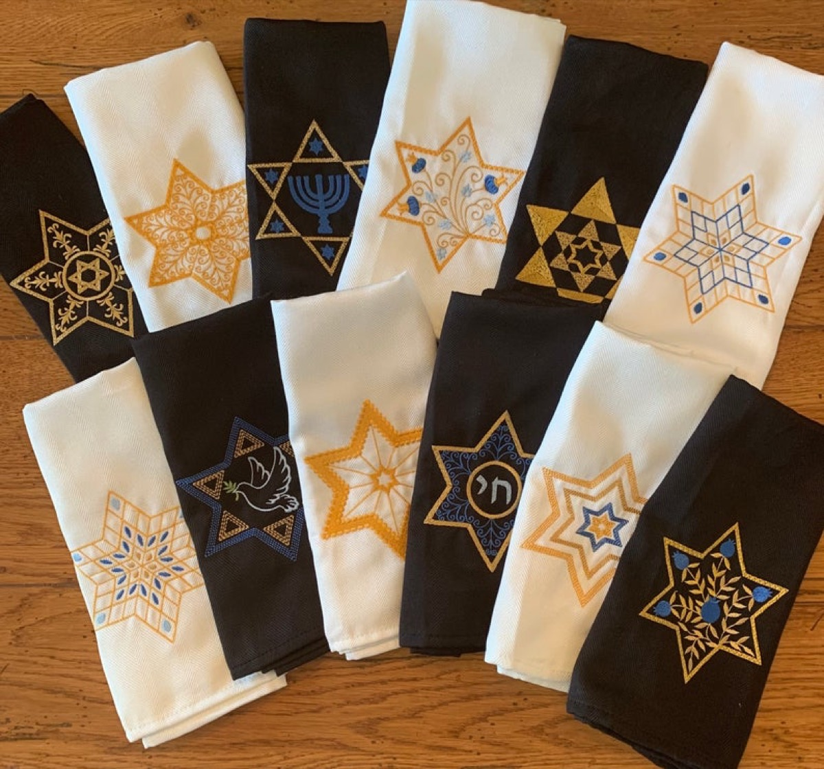 black and white cloth napkins with the star of david on them, hanukkah decorations