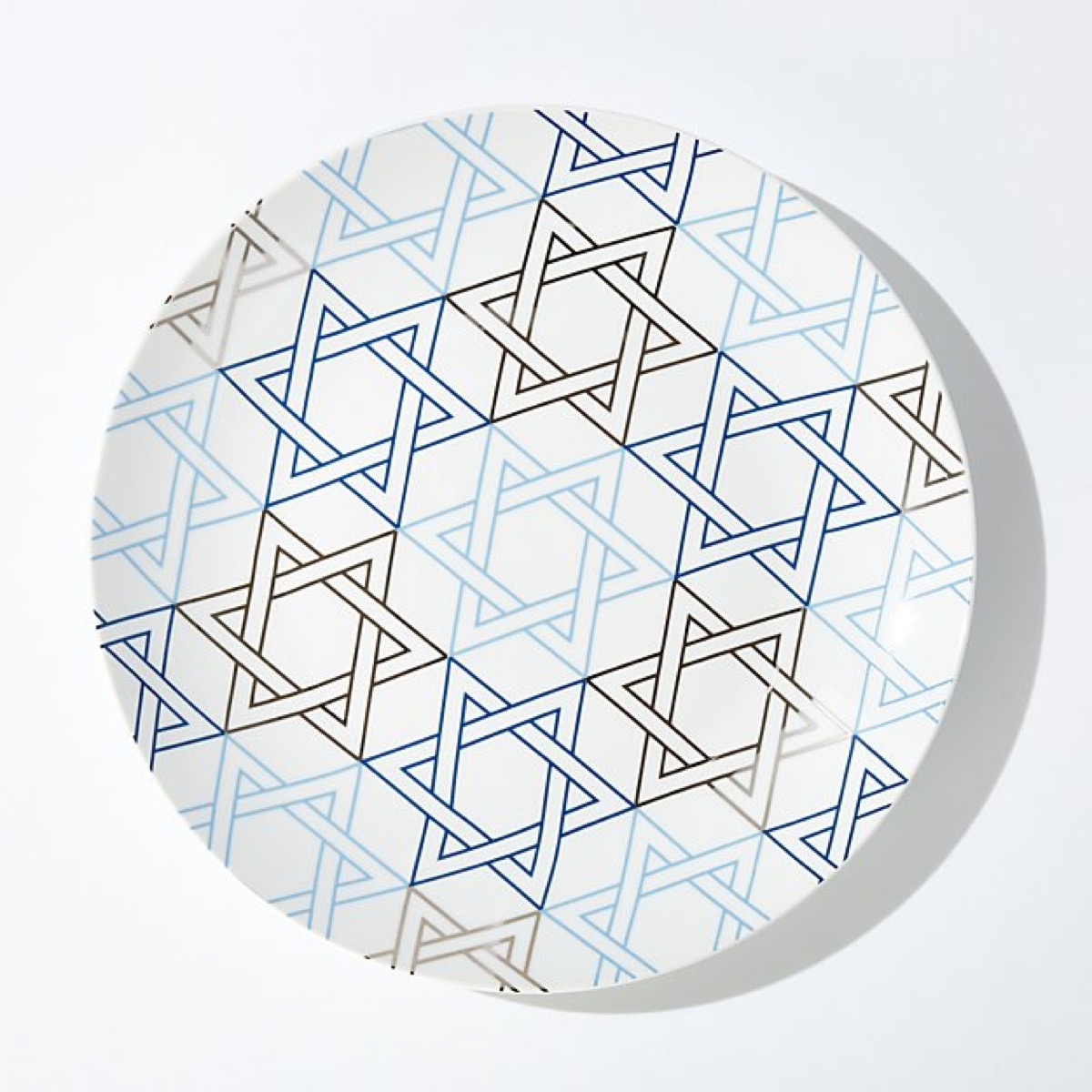 white platter with blue stars of david on it, hanukkah decorations