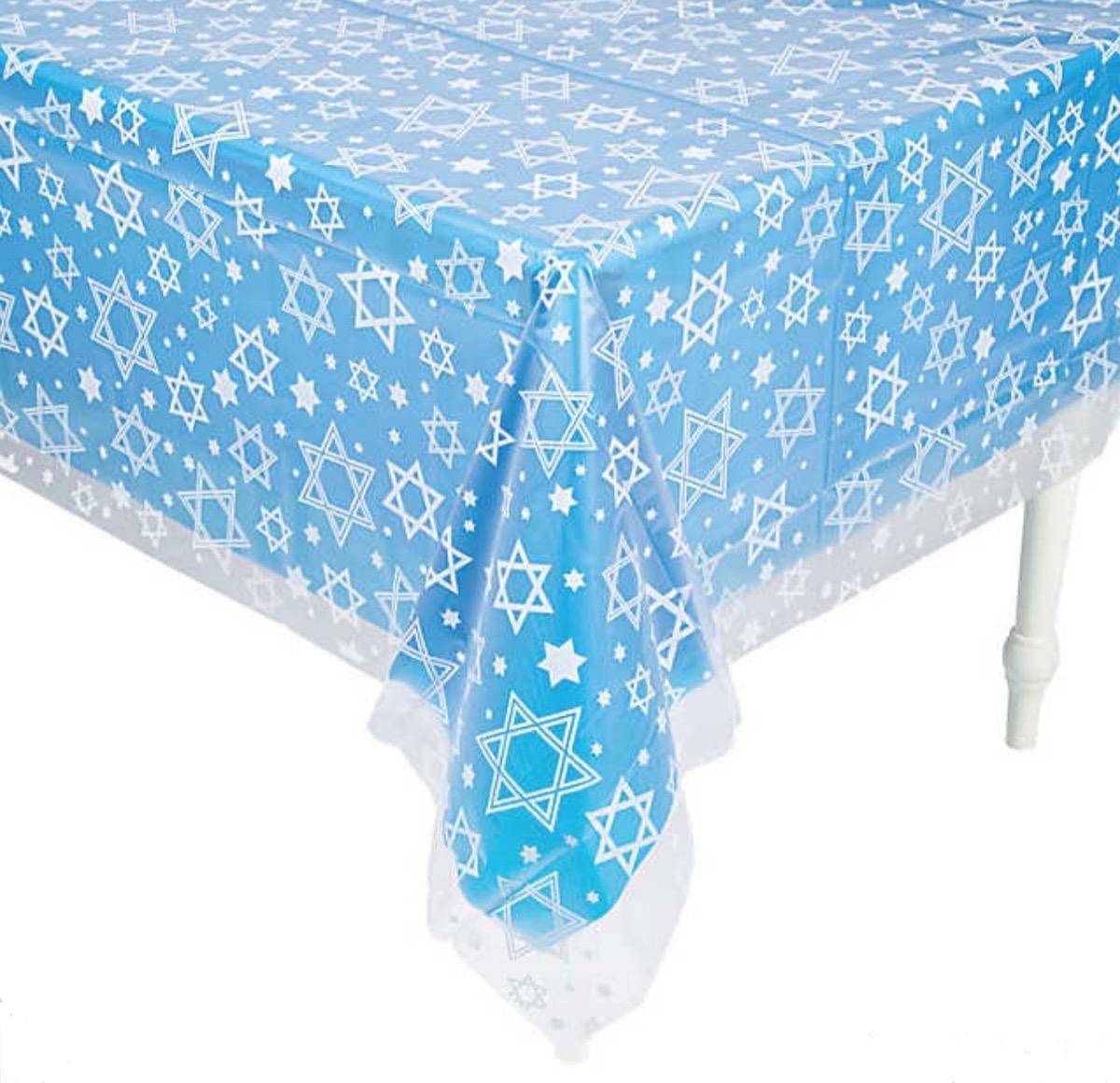blue star of david tablecloth, hanukkah decorations