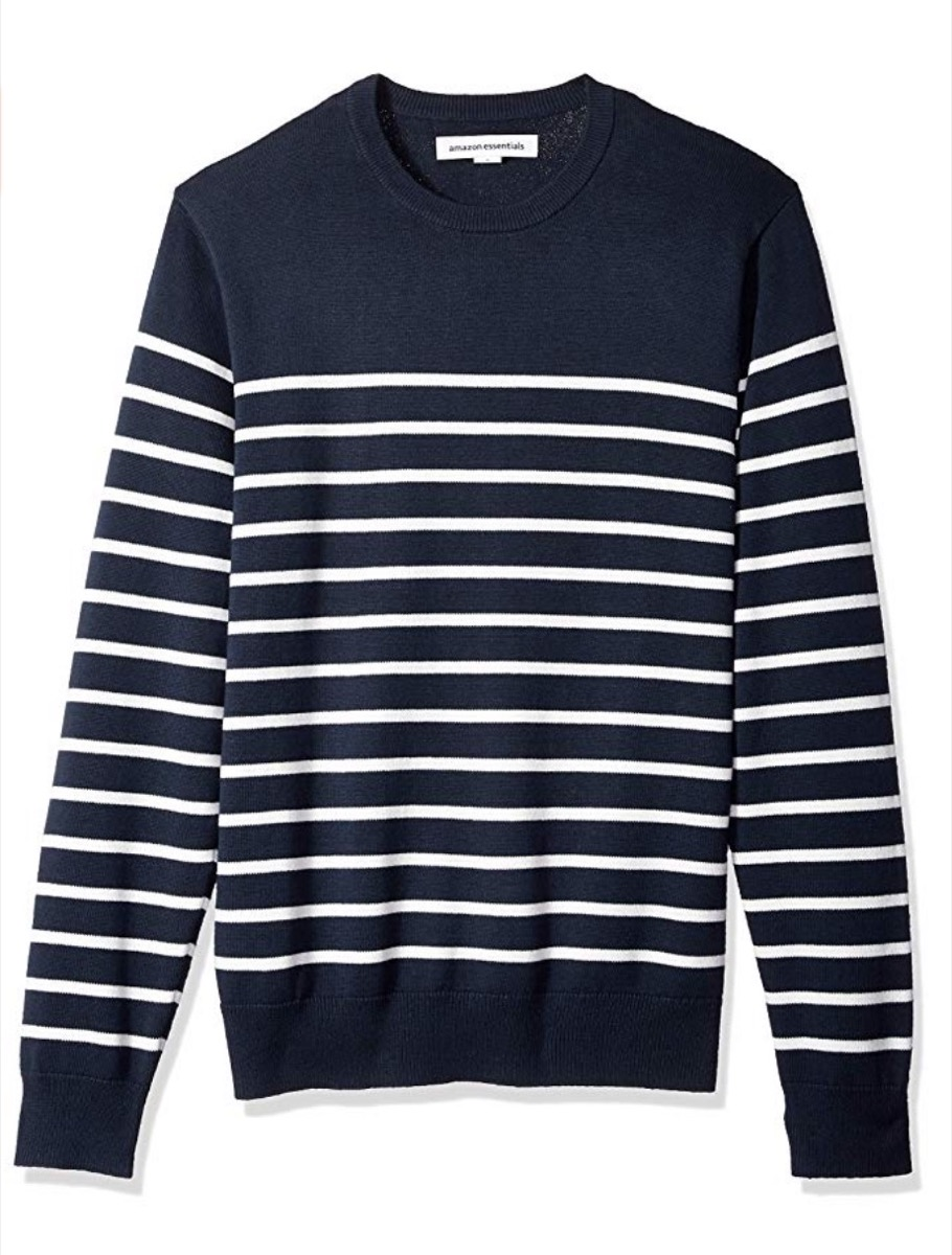 blue and white striped crew neck sweater