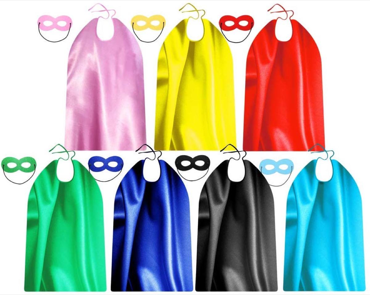rainbow superhero capes, family halloween costumes