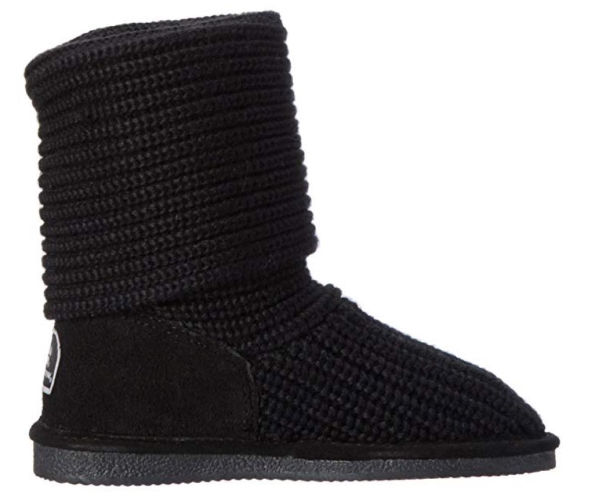 black short sweater knit boots