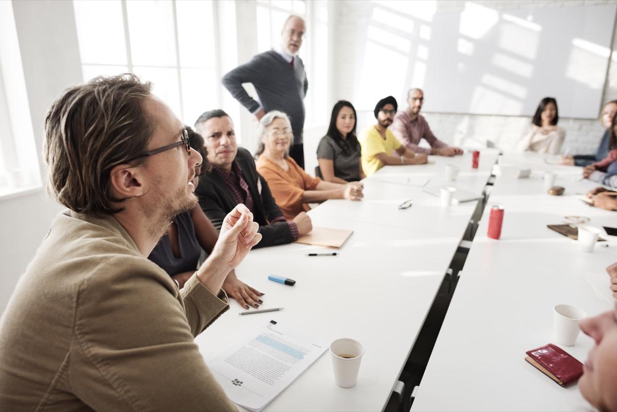 teachers having a teacher meeting