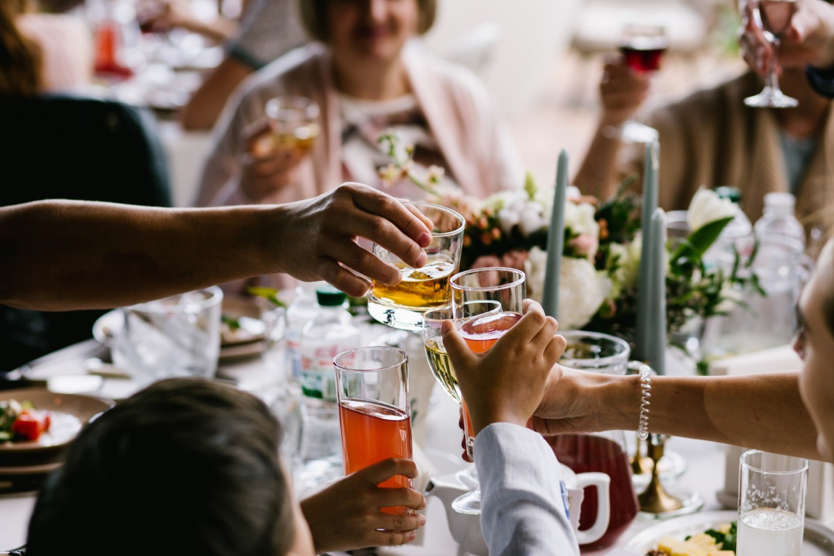 families at a wedding