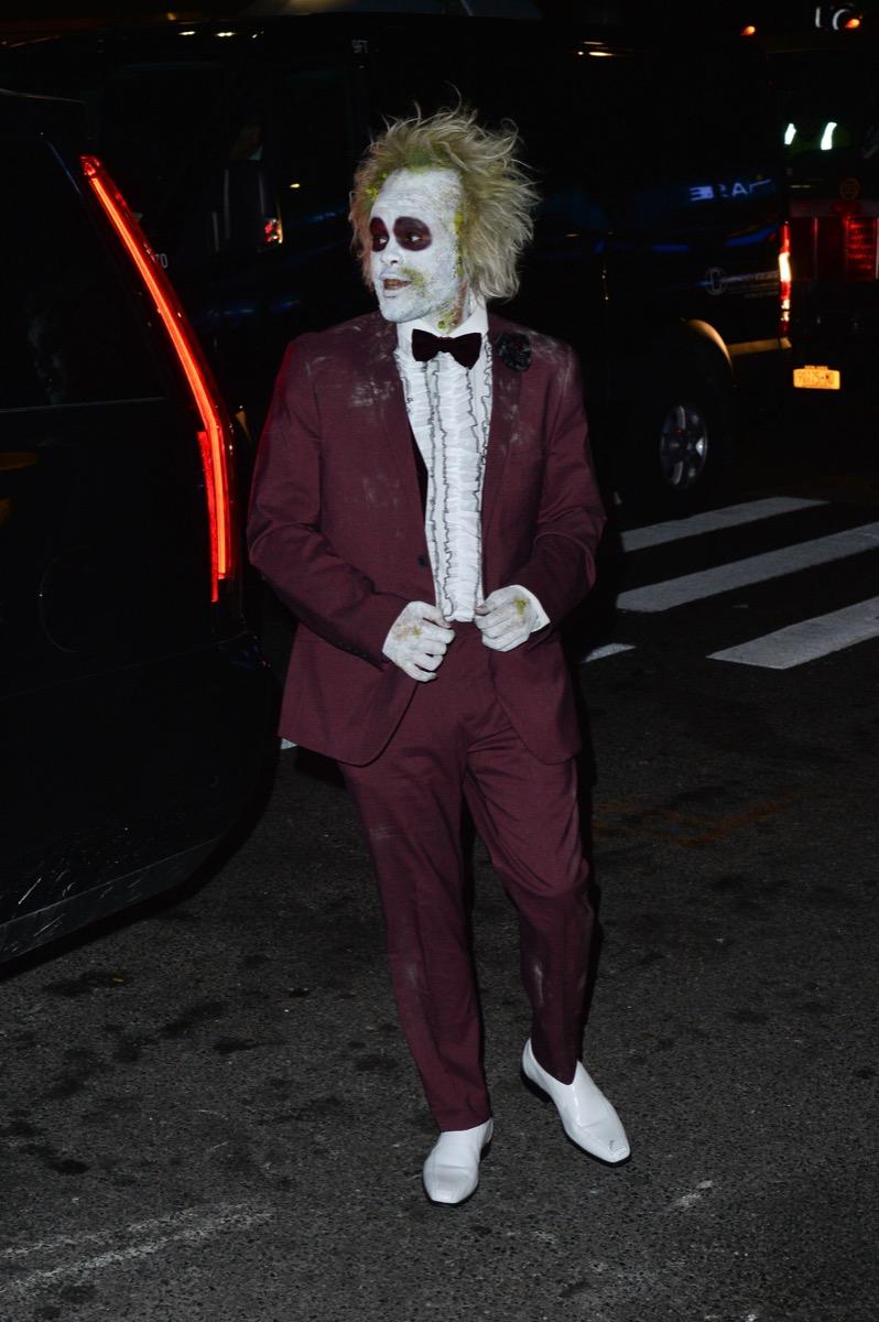 The Weeknd dressed as Beetlejuice for Halloween