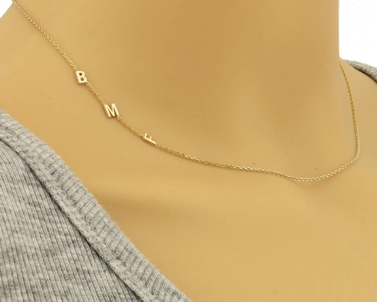 b m f initials on gold chain, Etsy jewelry