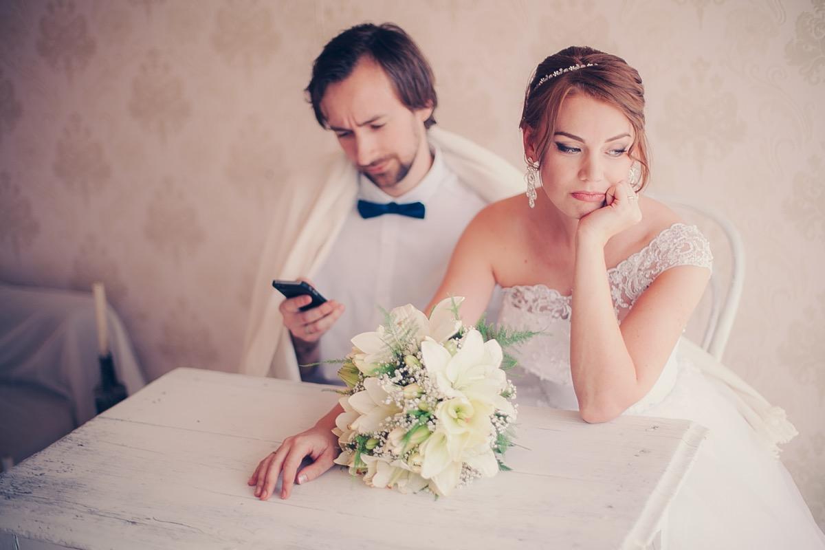 couple unhappy at their wedding