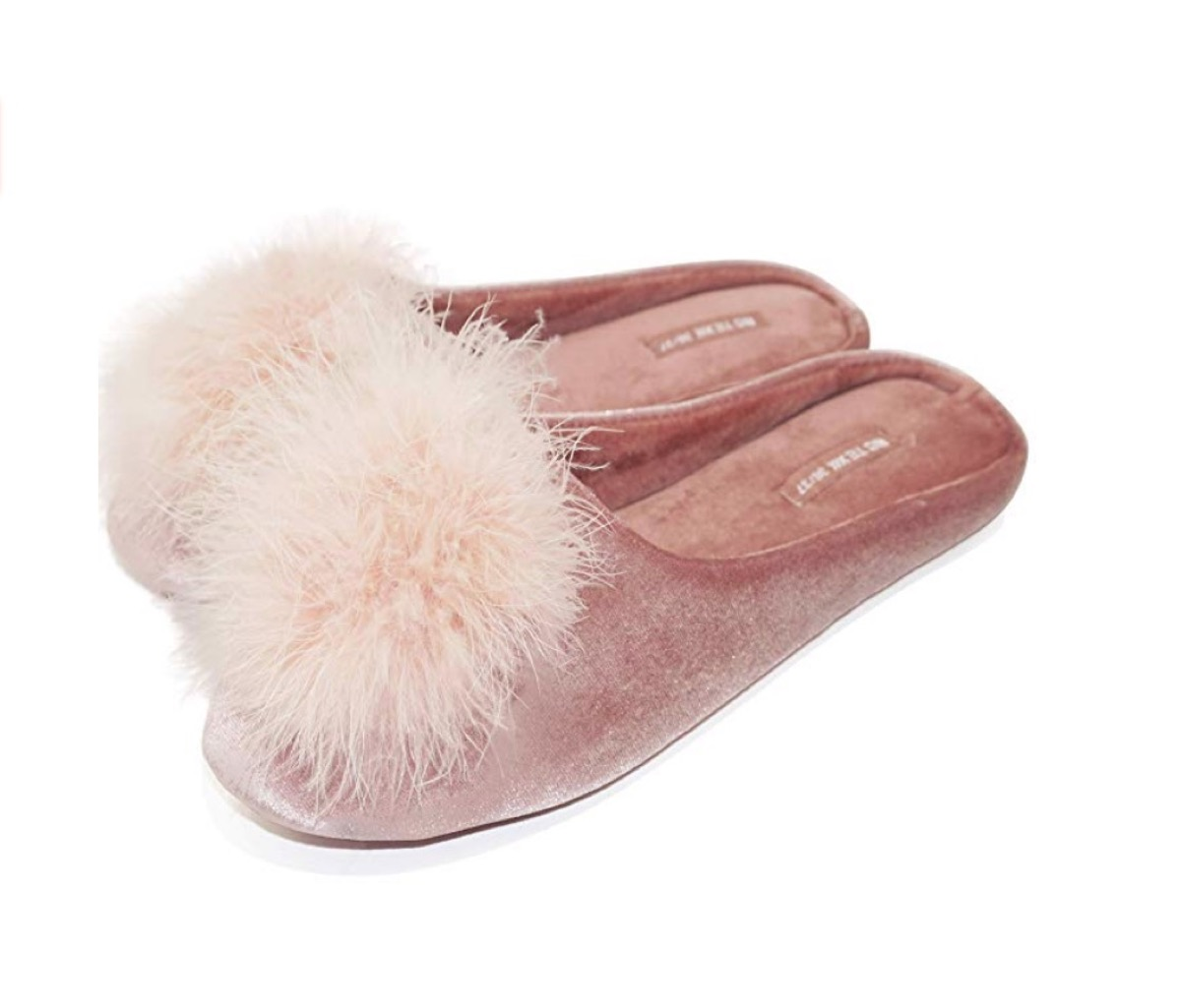 pink velvet slippers with pink fur pom poms