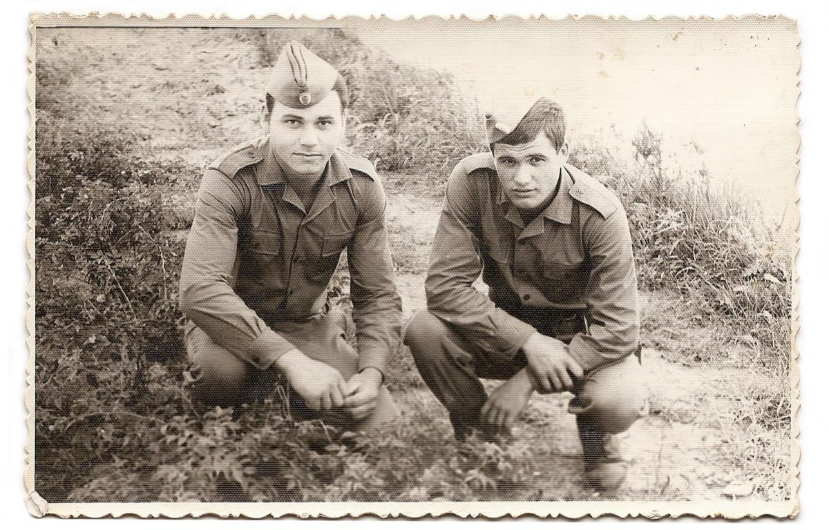 Vintage photo of men during war
