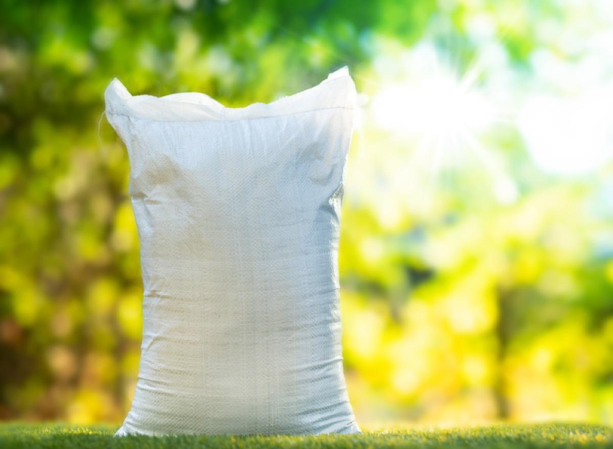 white bag of fertilizer outdoors