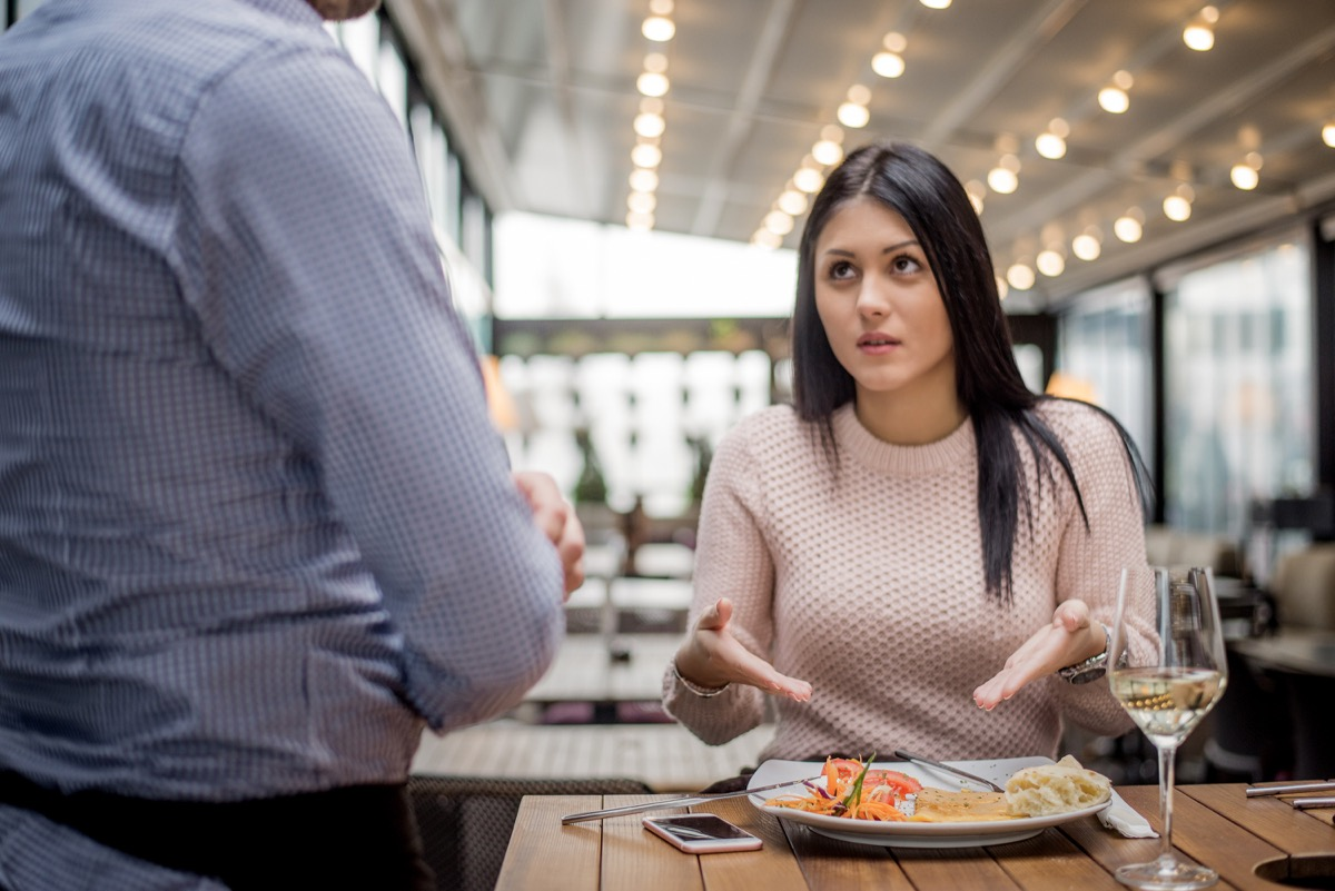 woman complaining about her food