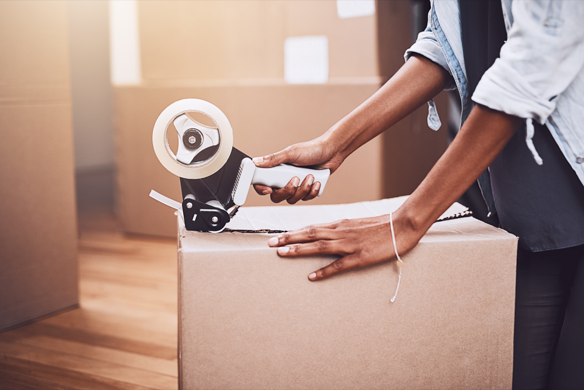 Woman packing up boxes getting ready to move