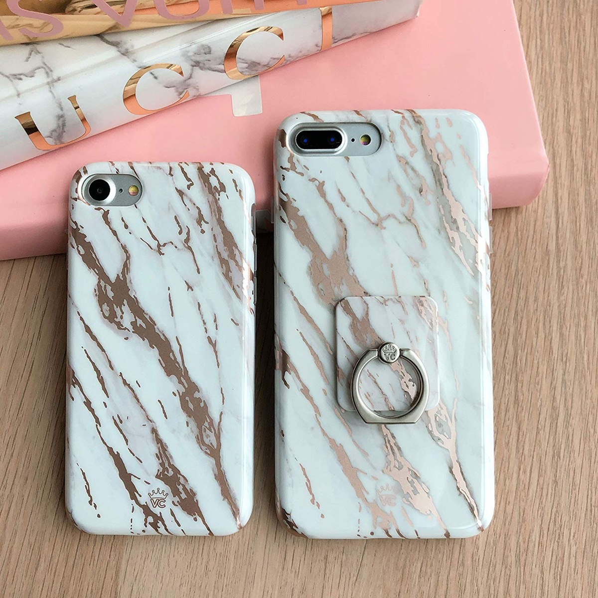 two marbled phone cases