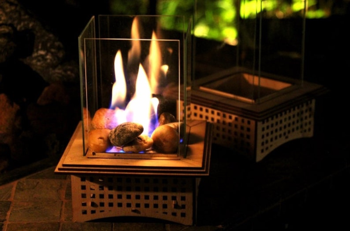 tabletop fireplace at night