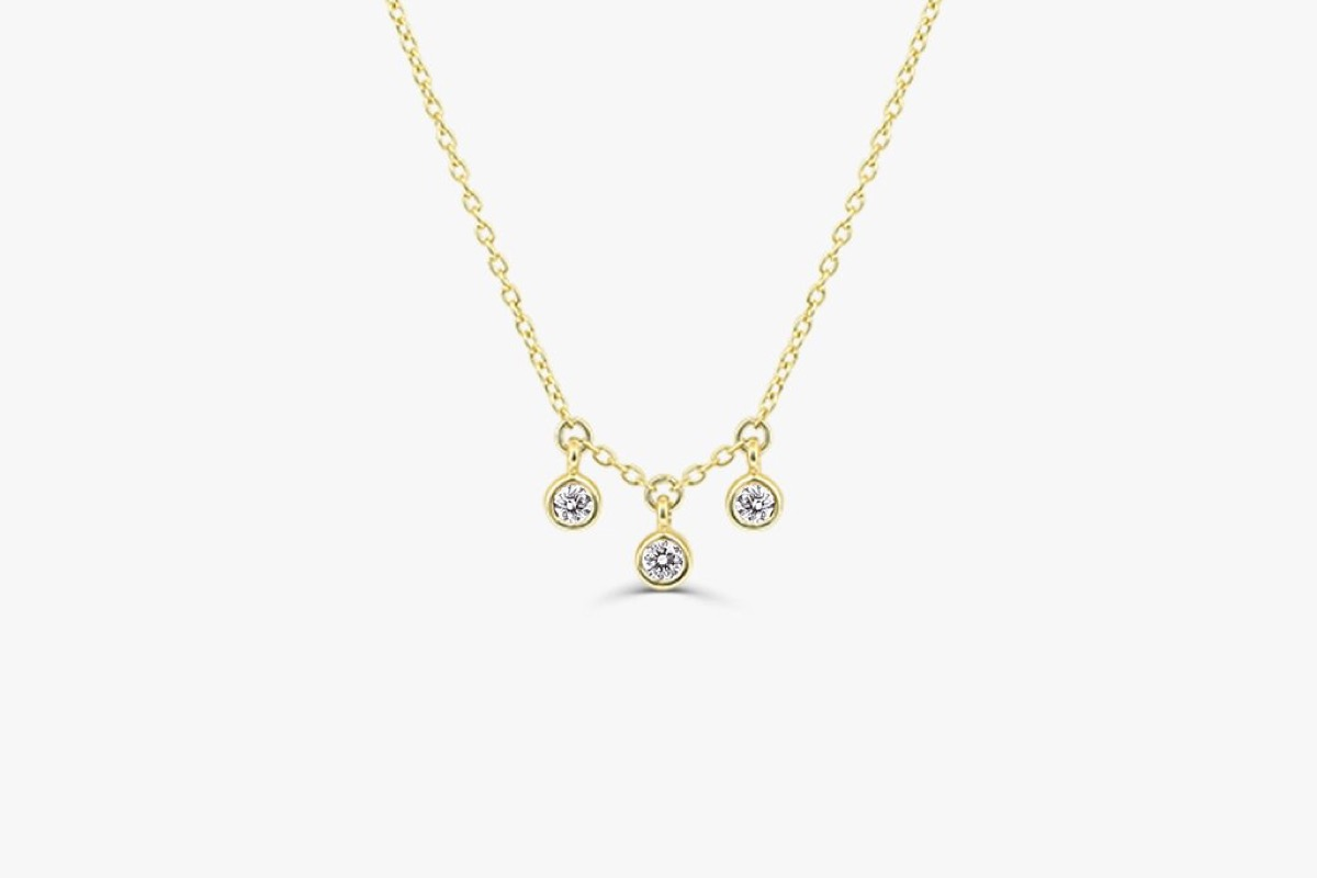 Three stone diamond bezel set necklace