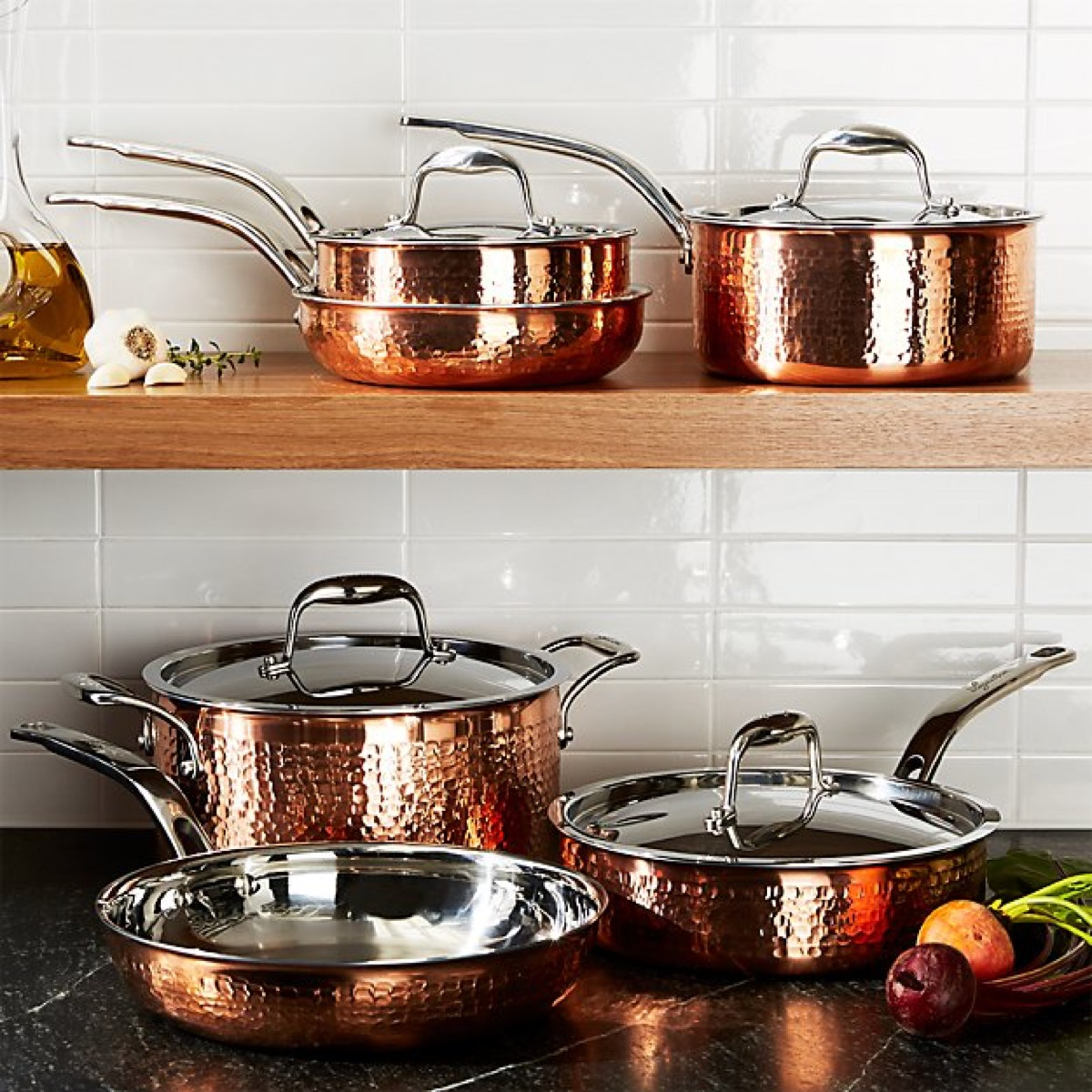 Copper cookware in a kitchen
