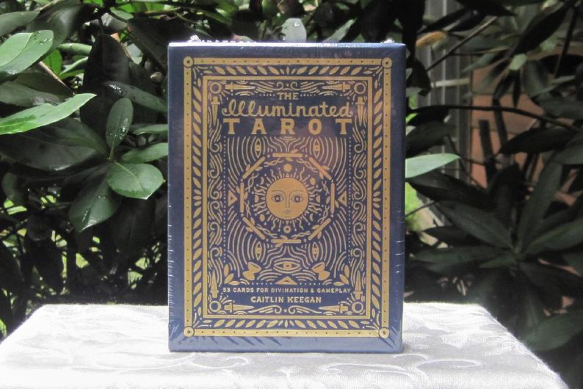 blue tarot book with gold writing on white tablecloth in front of plants