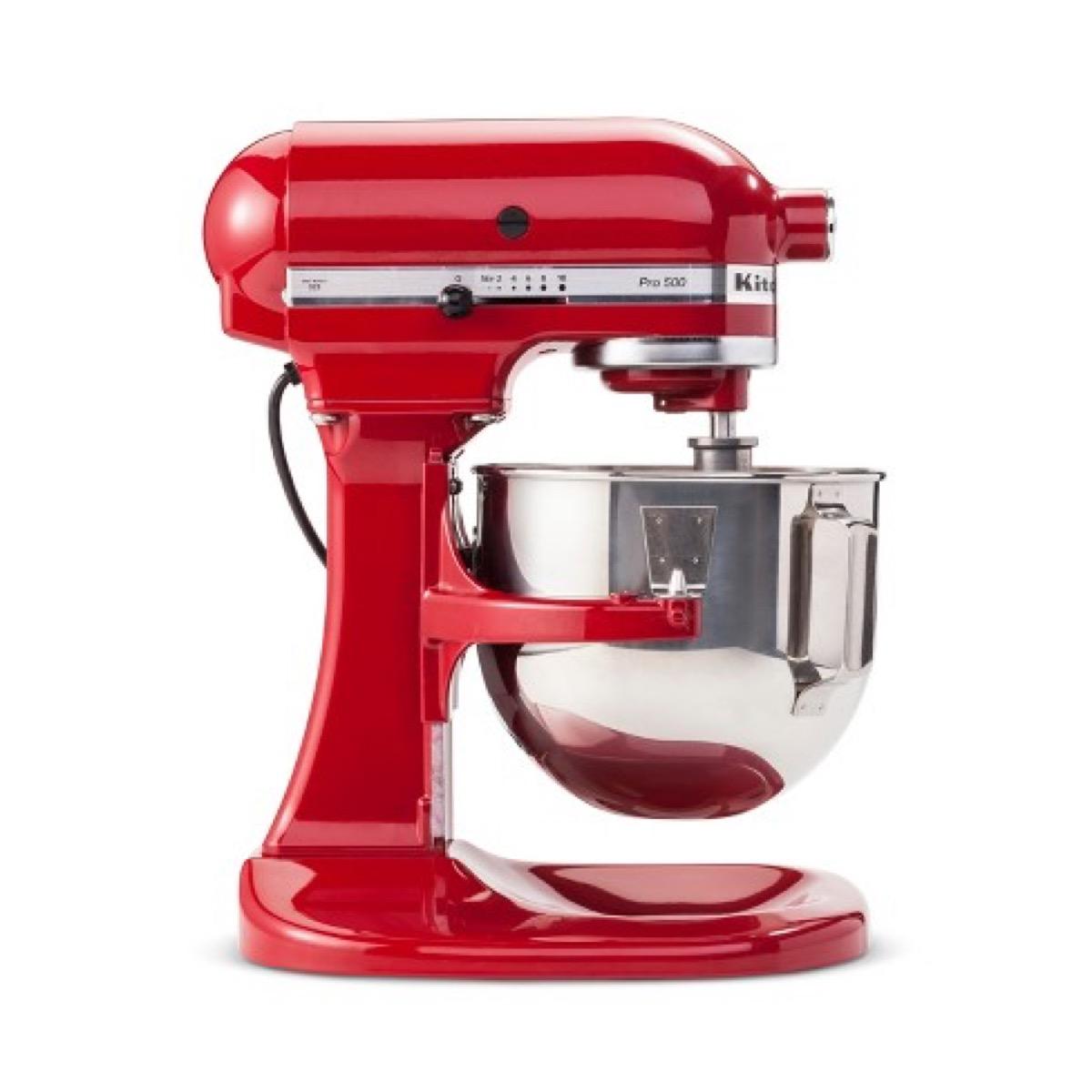 Red Kitchenaid mixer white background