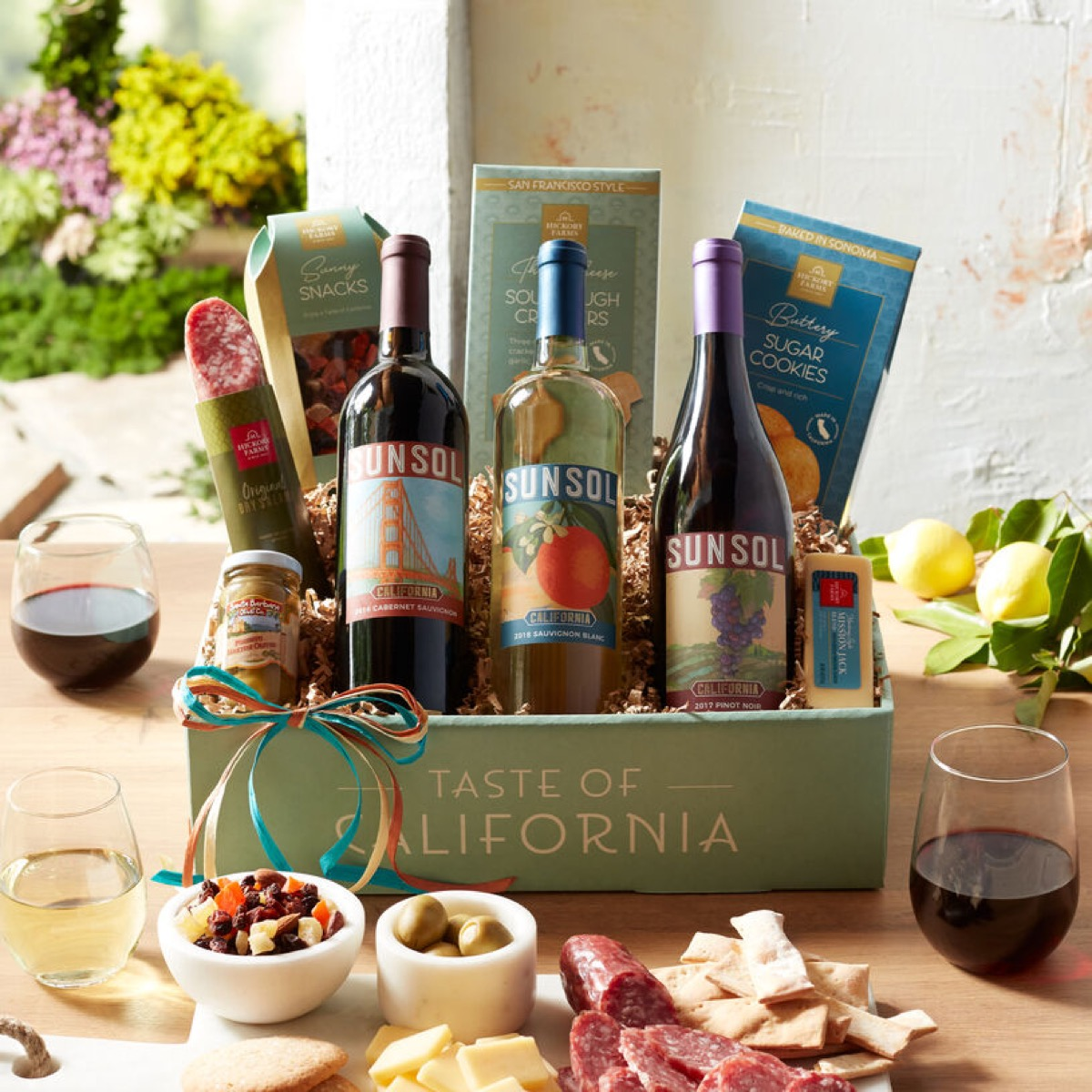 Gift basket with wine and snacks