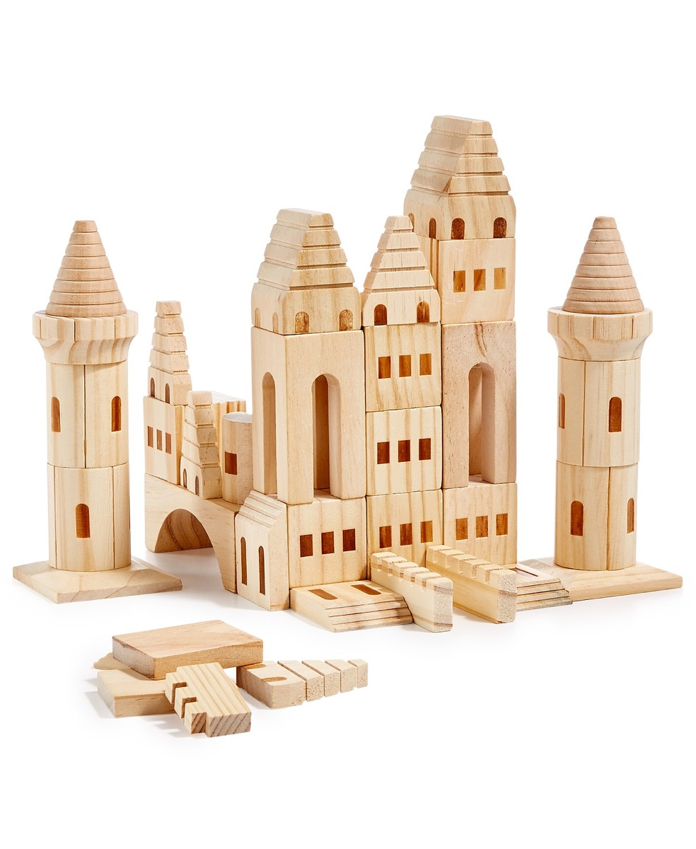 wooden blocks set up to resemble a castle
