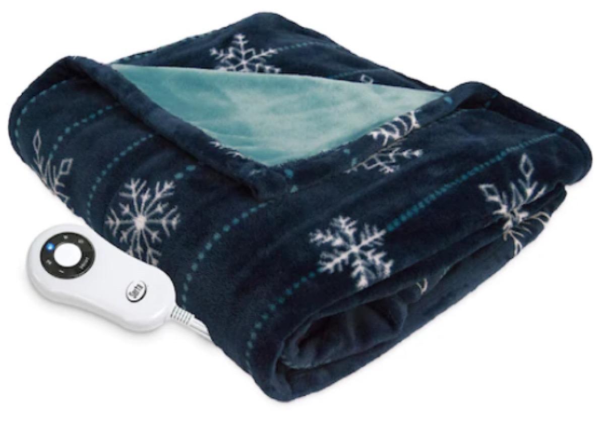 blue fleece blanket with snowflake pattern