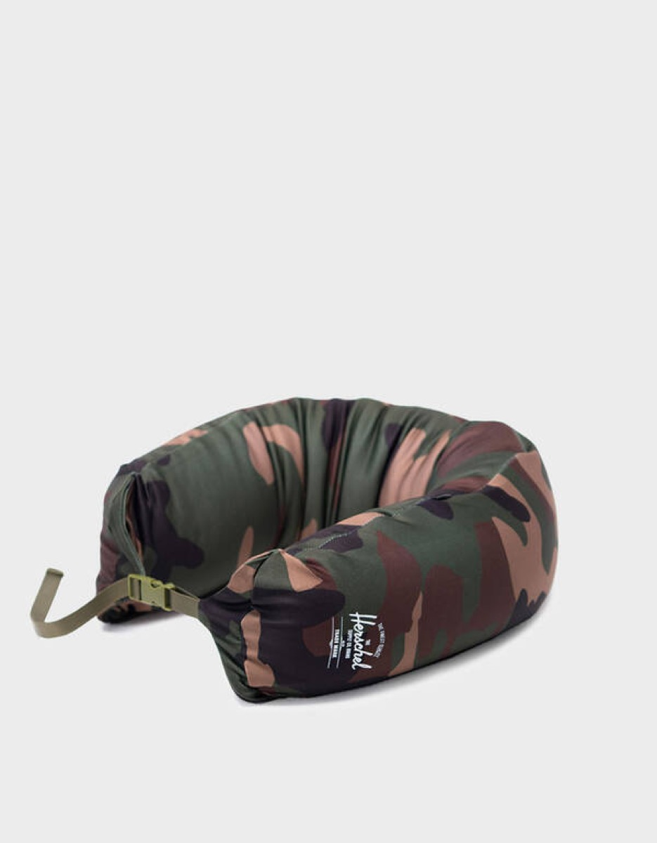 green and brown camouflage neck pillow