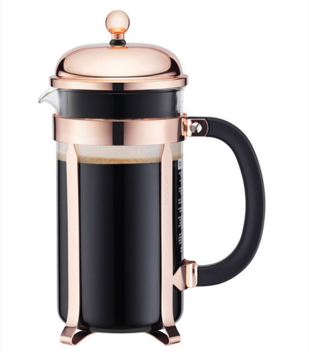 french press with rose gold lid