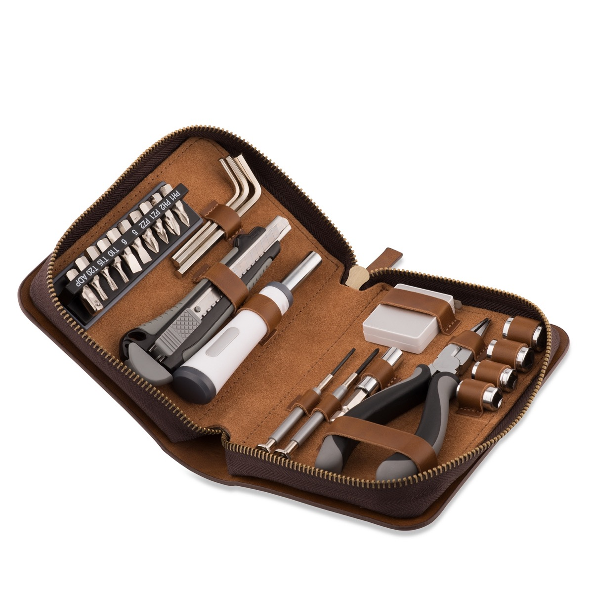 24 piece leather travel tool set